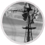 Rural Nebraska Windmill Round Beach Towel