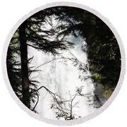 Rushing Through The Trees Round Beach Towel