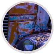 Rusrty Old Dodge Truck Round Beach Towel