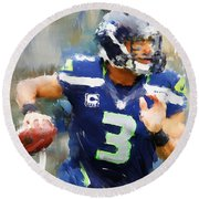 Russell Wilson Round Beach Towel by Lourry Legarde