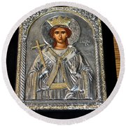 Russian Byzantin Icon Round Beach Towel