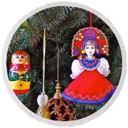 Russian Christmas Tree Decoration In Fredrick Meijer Gardens And Sculpture Park In Grand Rapids-mi Round Beach Towel