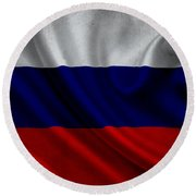 Russian Flag Waving On Canvas Round Beach Towel