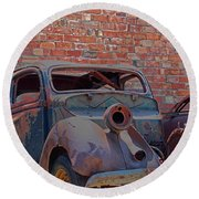 Round Beach Towel featuring the photograph Rust In Goodland by Lynn Sprowl