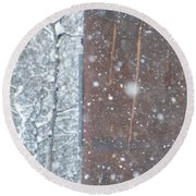 Rust Not Sleeping In The Snow Round Beach Towel by Brian Boyle