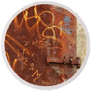 Rusted Steel Relic Round Beach Towel