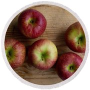 Rustic Apples Round Beach Towel