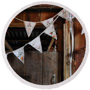 Round Beach Towel featuring the photograph Rustic Bunting by Jocelyn Friis