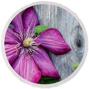 Rustic Clematis Round Beach Towel