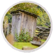 Rustic Fence And Outhouse Round Beach Towel