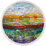 Rustic Landscape Abstract Round Beach Towel