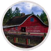 Round Beach Towel featuring the photograph Rustic Old Horse Barn by Jordan Blackstone