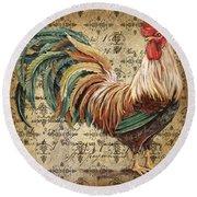 Rustic Rooster-jp2120 Round Beach Towel