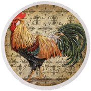 Rustic Rooster-jp2121 Round Beach Towel