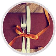 Rustic Table Setting For Autumn Round Beach Towel