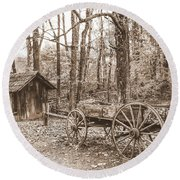 Rustic Wagon Round Beach Towel by Debbie Green