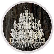 Rustic Shabby Chic White Chandelier On Wood Round Beach Towel by Suzanne Powers