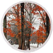 Rustic Winter Round Beach Towel