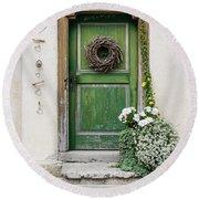 Rustic Wooden Village Door - Austria Round Beach Towel by Gary Whitton