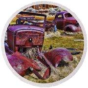 Rusty Autos Round Beach Towel