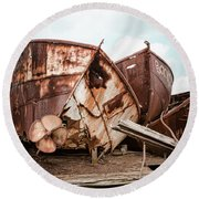 Rusty Boat Hulls - Nautical Vessels Round Beach Towel