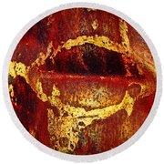 Rusty Kiss Round Beach Towel by Leanna Lomanski