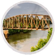 Rusty Old Railroad Bridge Round Beach Towel