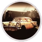 Rusty Oldsmobile Round Beach Towel