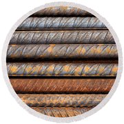 Rusty Rebar Rods Metallic Pattern Round Beach Towel