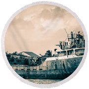 Rusty Ship Round Beach Towel