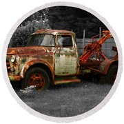 Rusty Tow Truck Round Beach Towel