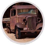 Rusty Truck 04 Round Beach Towel by Wally Hampton