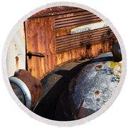 Rusty Truck Detail Round Beach Towel by Garry Gay
