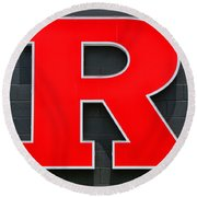 Rutgers Block R Round Beach Towel by Allen Beatty
