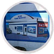 S And W Tire Service Mural Round Beach Towel