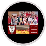 S J A Reunion Collage Flappers Round Beach Towel