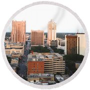 Sa Skyline 003 Round Beach Towel by Shawn Marlow