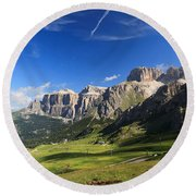 Saas Pordoi And Fassa Valley Round Beach Towel
