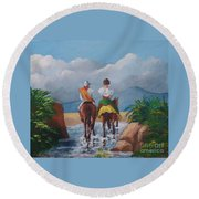 Sabanero And Wife Crossing A River Round Beach Towel