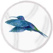 Sabrewing Hummingbird Round Beach Towel by Amy Kirkpatrick