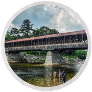 Round Beach Towel featuring the photograph Saco River Covered Bridge  by Debbie Green