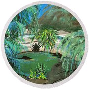 Round Beach Towel featuring the painting Sacred Cenote At Chichen Itza by Alys Caviness-Gober