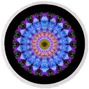Sacred Crown - Mandala Art By Sharon Cummings Round Beach Towel