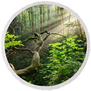 Sacred Grove Round Beach Towel