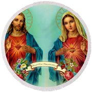 Sacred Heart Immaculate Heart  Round Beach Towel