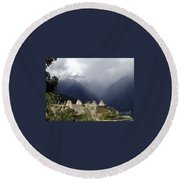 Sacred Mountain Echos Round Beach Towel