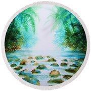 Sacred Pools Round Beach Towel
