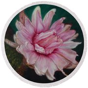 Round Beach Towel featuring the painting Sacred Red Lotus by Mukta Gupta