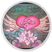 Sacred Soulmates And Twin Flames Round Beach Towel by Absinthe Art By Michelle LeAnn Scott