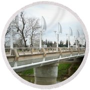 Sacramento California Water District Round Beach Towel